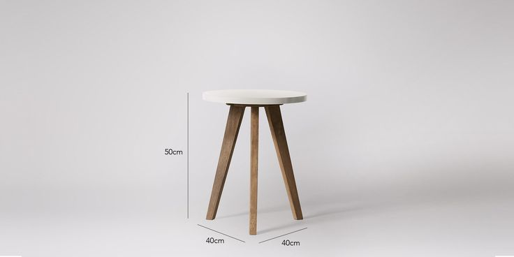 Swoon Editions Side table, mid-century style in mango wood and Bright White - £79
