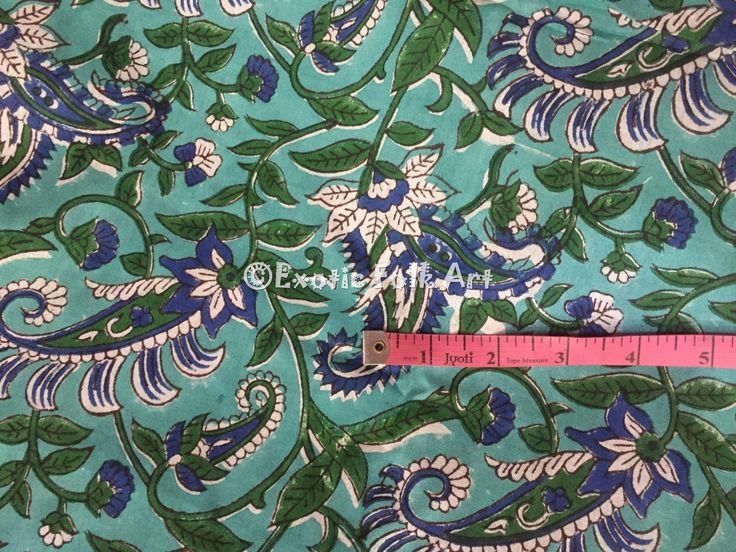 Green and Blue Floral Indian Block Print Hand Dyed Fabric Cotton Curtain Tablecloth Kitchen Cloth Cushion Cover Prints   – Love for Cloth for Dresses