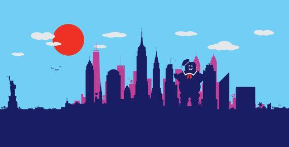 New York Skyline Print // Marshmallow man in manhattan // Ghostbusters inspired print // Slimer or onion head in Manhattan NYC print art