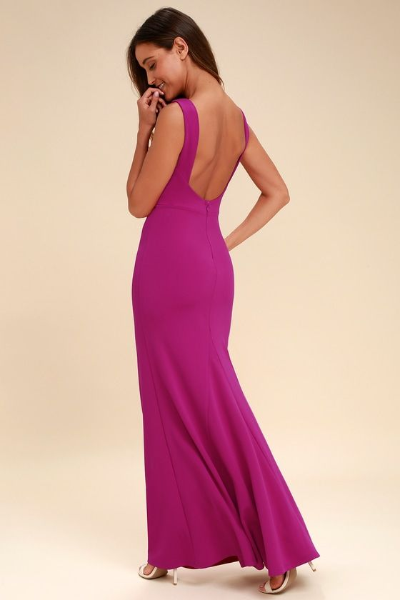 2b8bc2d6121 Give  em something to talk about in the Hollywood Boulevard Magenta  Backless Maxi Dress!
