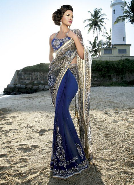 Gorgeous blue hourglass saree. Embroidered and perfect for formal occasions.