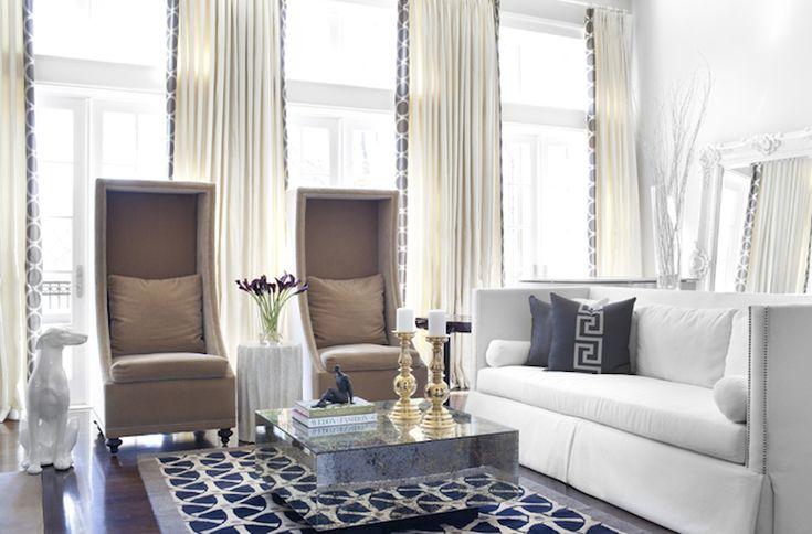 Sarah Dorio Photography white brown blue contemporary living room design with white ...