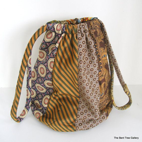 Slouchy Silk Handbag from Recycled Silk Ties OOAK by The Bent Tree Gallery
