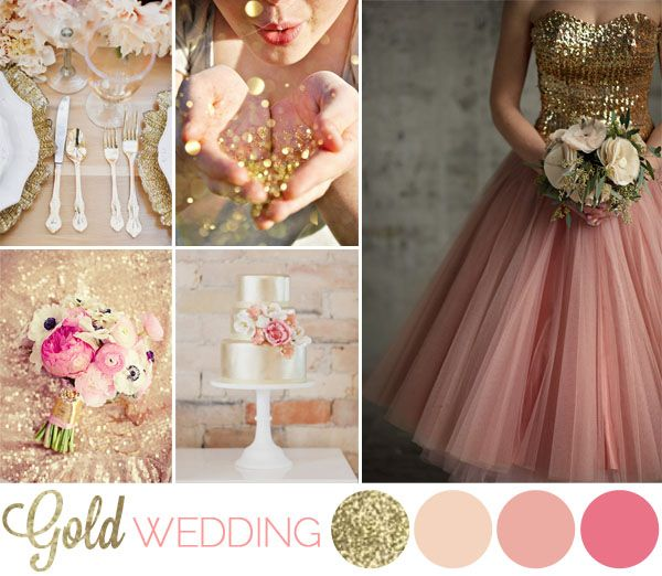 Gold + blush + pink + glitter wedding inspiration board. Swap the pink for Navy and either keep the blush or go for a light coral...