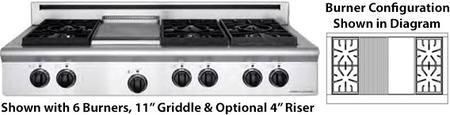"""ARSCT484GDGRL 48"""" Legend Series Slide-In Gas Rangetop with 4 Sealed Burners 11"""" Griddle 11"""" Char-Grill and Commercial Grade Cast Iron Grates in Stainless Steel: Liquid Propane"""