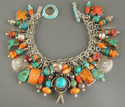 Joan Slifka Navajo silver/turquoise/coral charm bracelet (eBay)