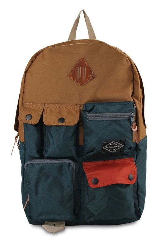 Raider Backpack by Billabong in two colors. Made of polyester 300D material. Equipped with two main compartments and a laptop sleeve and many front pockets. If you are the type who goes to school and separate your pencils with the rest of your stationeries, this is the perfect bag for you. http://www.zocko.com/z/JIG1Q