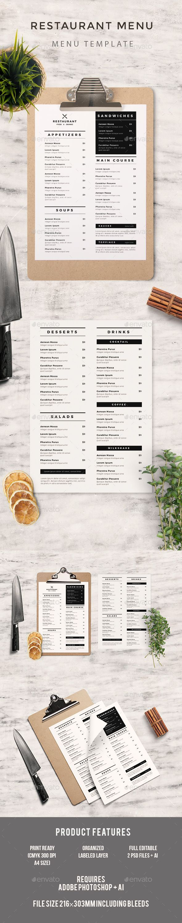 Simple Food Menu — Photoshop PSD #cafe #restaurant menu • Available here → https://graphicriver.net/item/simple-food-menu/19803204?ref=pxcr