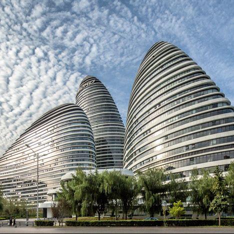 Zaha Hadid completes pebble-shaped Wangjing Soho towers in Beijing