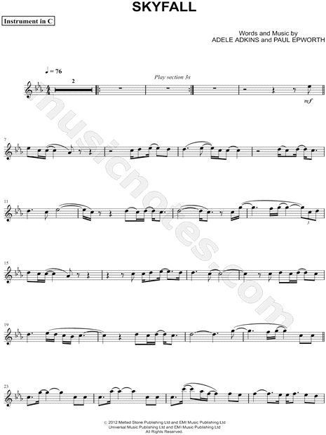 Skyfall C Instrument By Adele Digital Sheet Music
