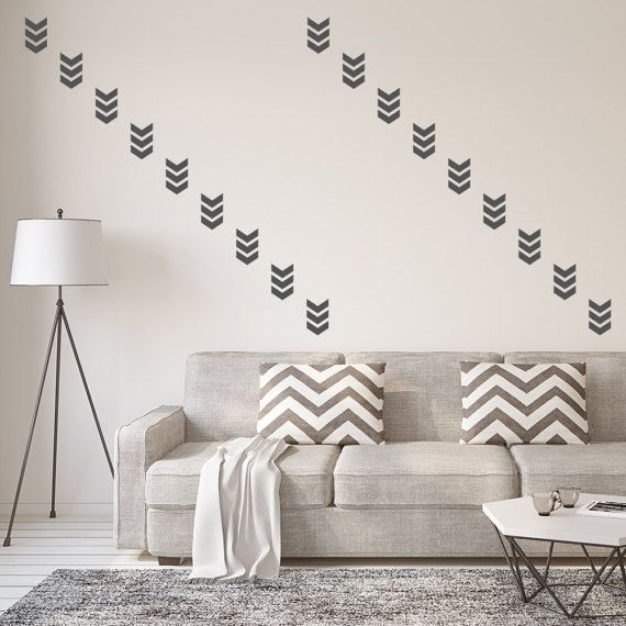 Set Of 50 Triple Chevron Wall Stickers Wall Decals Wall