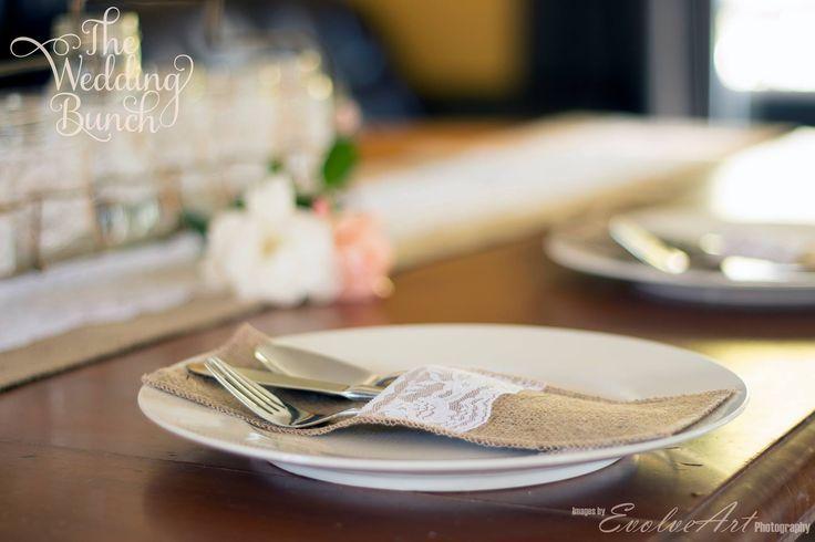 Cutlery pockets - Hessian, burlap, lace.  Hamilton New Zealand