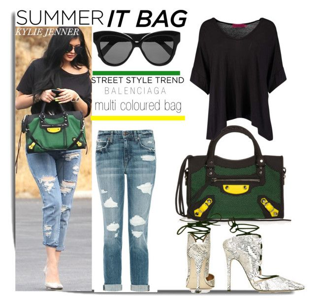"""""""Balenciaga City Bag: Multi Coloured with Kylie Jenner..."""" by nfabjoy ❤ liked on Polyvore featuring Joe's Jeans, Balenciaga, Boohoo, Linda Farrow, Topshop, Summer, itbag, KylieJenner and CelebrityStyle"""