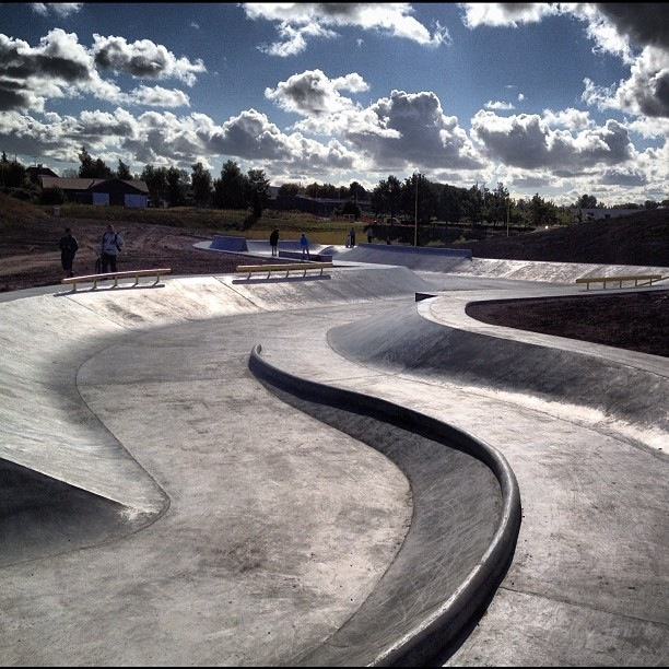 Rabalder Park in Roskilde, Denmark. Designed as a dual use Skatepark/drainage facility. ::even the skateparks are pretty ::