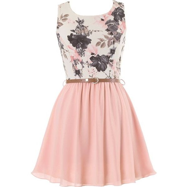 Sweetest Peach Dress ($100) ❤ liked on Polyvore featuring dresses, floral print dress, pink dress, pink skinny belt, peach floral dress and vintage day dress