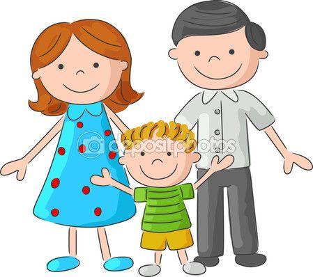 Dibujo de familia feliz de la historieta — Ilustración de stock #73709887