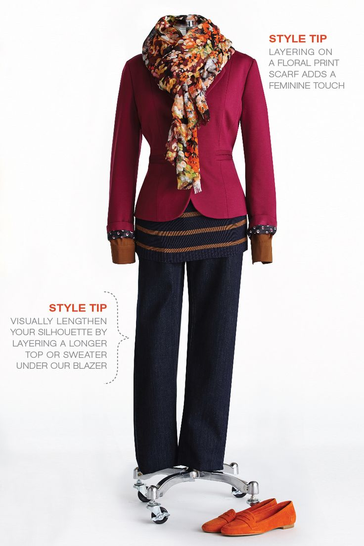 "Fall Style with Lynn Spence: Style Tip ""Visually lengthen your silhouette by layering a longer top or sweater under our blazer."""