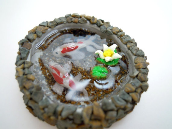 17 best images about miniature ponds on pinterest clay for Clay koi fish