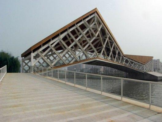 Quingpu Pedestrian Bridge in Shanghai, China;  designed by  CA-DESIGN / Architecture and Urban Planning