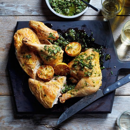 Roast Chicken with Salsa Verde and Roasted Lemons | This crisp and juicy roast chicken from star chef Jonathan Waxman of NYC's Jams is perfect with his chunky seven-herb salsa verde.