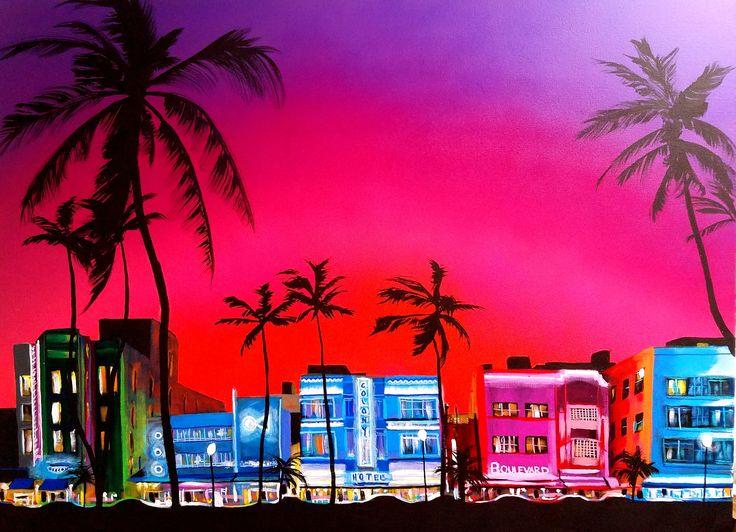 "Miami Beach commission  Supplies: -30x40"" Blick Studio Canvas -Montana Gold Acrylic Aerosol Cans -Montana Gold Acrylic -Palette Knife -Liquitex Heavy Body Acrylic"
