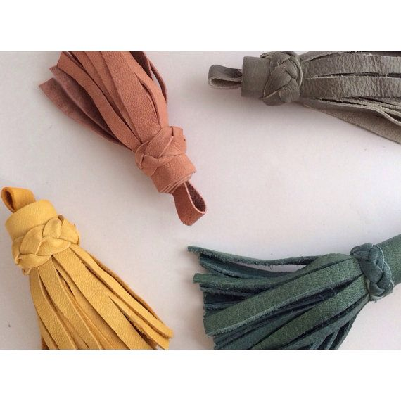 Leather Tassel Keychain by TheLittleDesignCo on Etsy