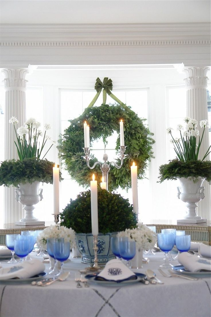 Holiday Decorating With Blue and White–Mantels and Table Settings