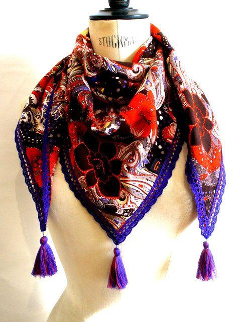 Barna-tarka török mintás  puha kendő lila szegéllyel , Ruha, divat, cipő, Kendő, sál, sapka, kesztyű, Kendő, Sál, Meska