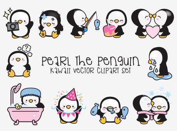 Haut de gamme vecteur Clipart - Kawaii Pearl le pingouin - mignon Pengun Clipart - haute qualité - téléchargement immédiat - Kawaii pingouin Clipart