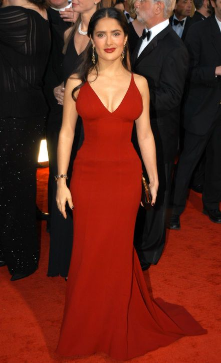 "The Best Golden Globes Dresses of All Time: Glamour.comBest Golden Globes Dress: Salma Hayek in Narciso Rodriguez, 2003 On the high-fashion red carpet scene, it takes a lot to make jaws drop. But Salma Hayek amped up the ""wow"" factor to level 11 at the 2003 Golden Globes with her Narciso Rodriguez figure-flaunting scarlet gown."