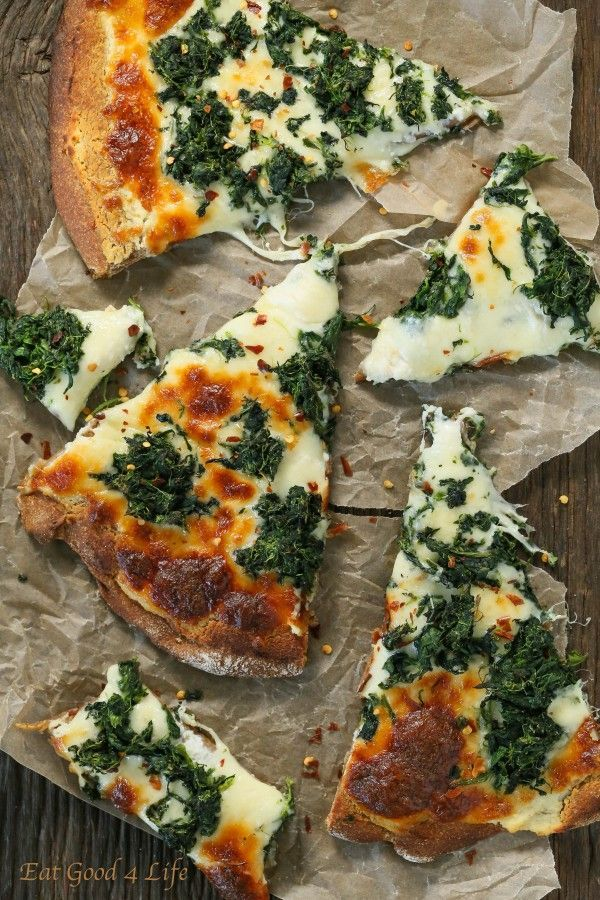 Roasted garlic spinach white pizza.