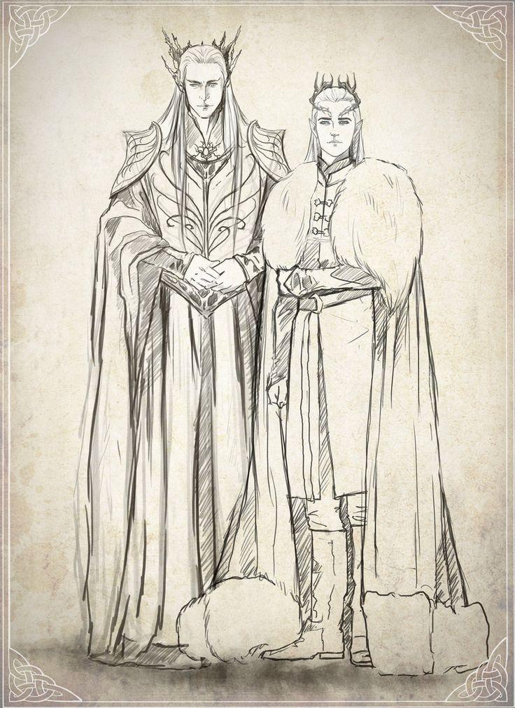 "Mirkwood Family sketch by Kinko-White.deviantart.com on @DeviantArt - Thranduil and Legolas from ""The Hobbit"""
