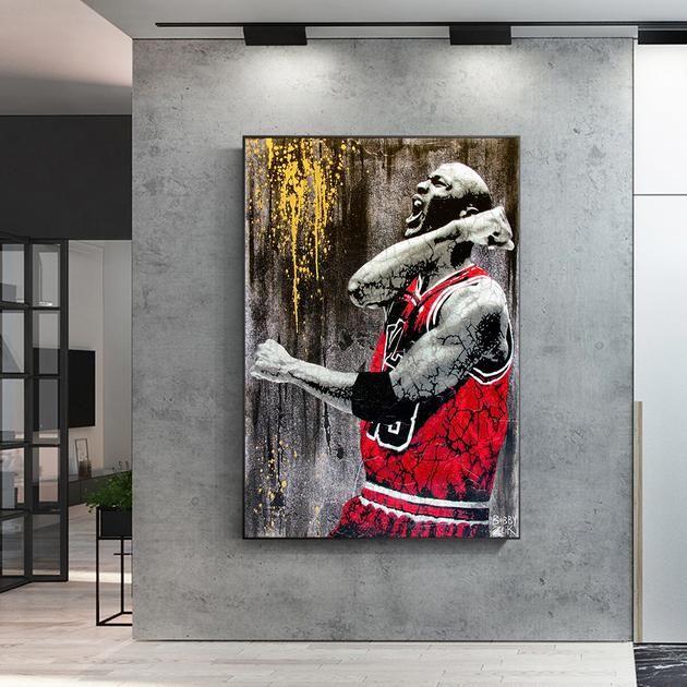 Michael Jordan The Goat Canvas Kanvas Kingdom Wall Art Canvas Painting Art Graffiti Art
