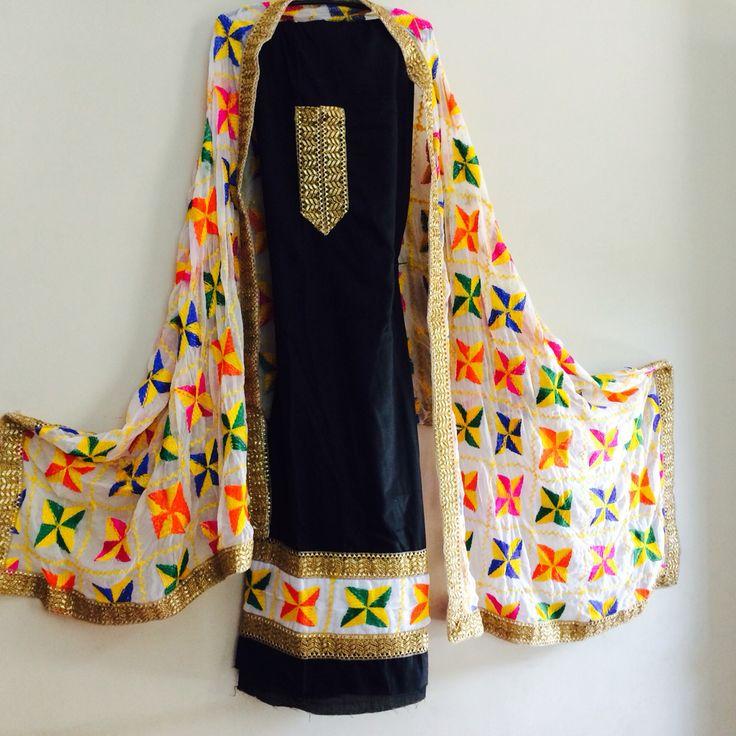 Unstitched Phulkari Suits