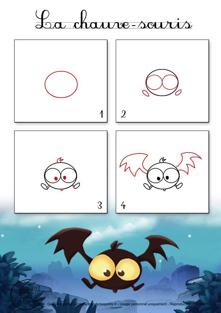 Dessin1_Comment dessiner une chauve-souris d'Halloween
