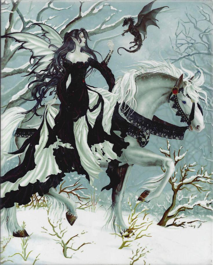 CHANCE ENCOUNTER Nene Thomas Fairy & Dragon Ceramic Art Wall Tile faery faerie