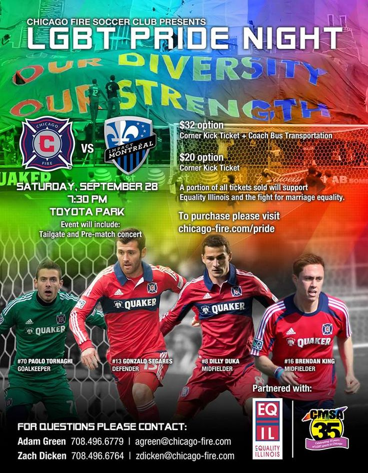 Chicago Fire to hold LGBT Pride Night - Can Soccer Save the World? http://cansoccersavetheworld.com/2013/chicago-fire-to-hold-lgbt-pride-night/