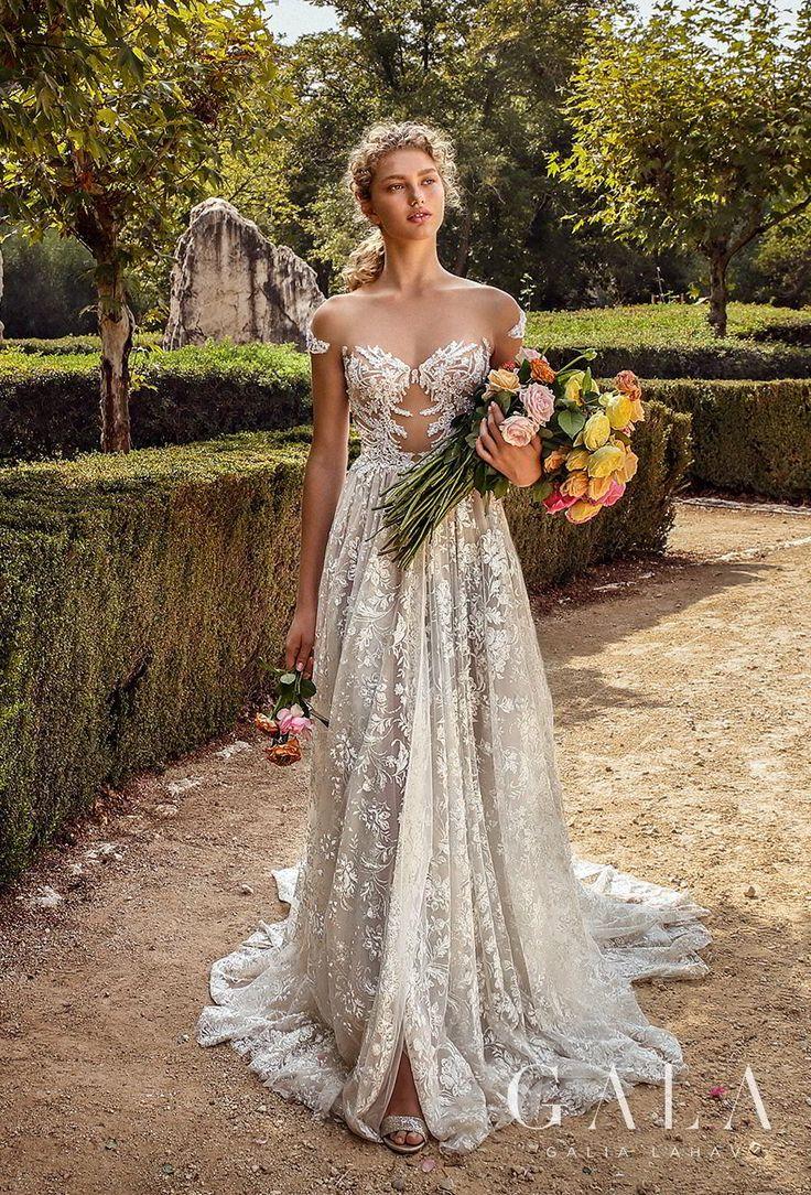 GALA Galia Lahav collection no. VII Fall 2019 Bridal //cap sleeve illusion batea…