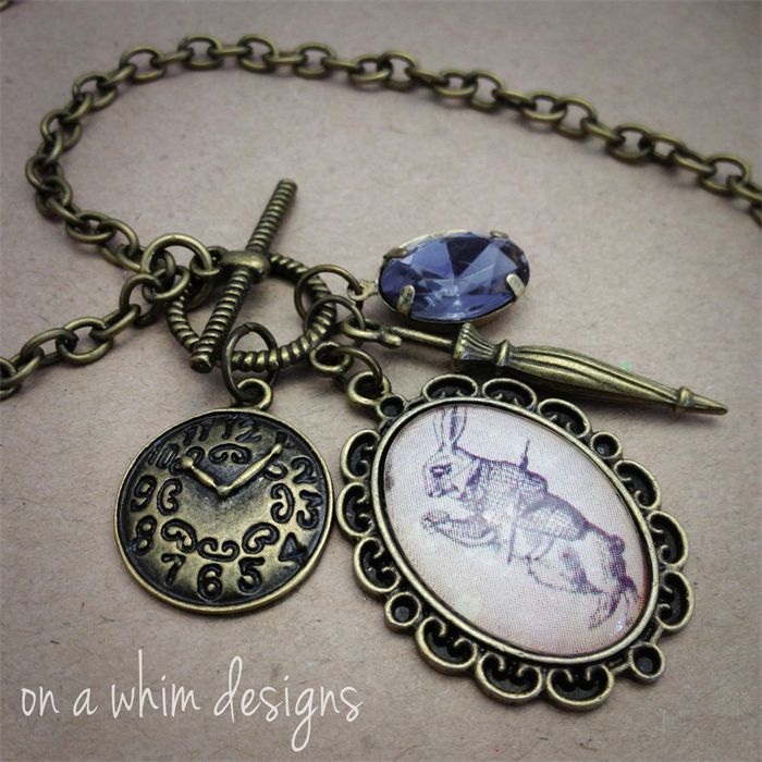 """I'm Late!"" white Rabbit Charm Necklace 