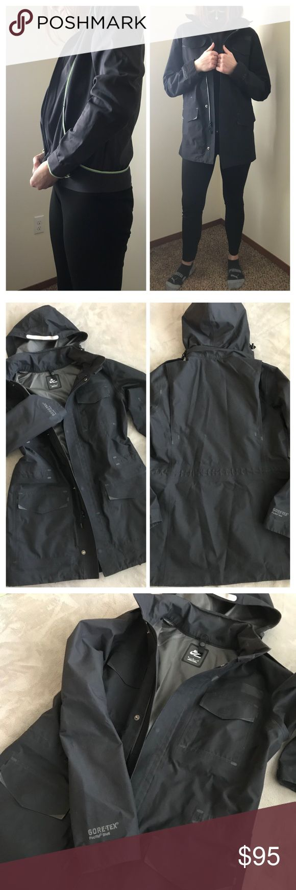 Nike NSW Trench/rain jacket Excellent condition, all black sophisticated GORE-TEX shell by Nike. Has all the right pockets and adjustable fobs to hug your waistline or keep it body and sporty. Hood can also be stowed away. The smaller Nike jacket will be included as a liner but it doesn't zip in, (I'm keeping that one) but this one is also in excellent condition and size Medium, like a light running jacket. Nike Jackets & Coats