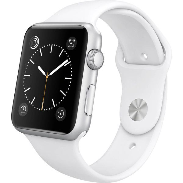 Women's Apple Watch Sport 42mm SmartwatchWhite ($290) ❤ liked on Polyvore featuring jewelry, watches, accessories, bracelets, jewelry & watches, silver, women's watches, apple jewelry, silver jewelry and apple watches
