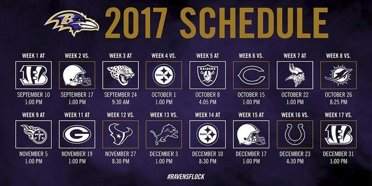 2017-18 BALTIMORE RAVENS NFL FOOTBALL SCHEDULE SEASON FRIDGE MAGNET (LARGE 4X5)