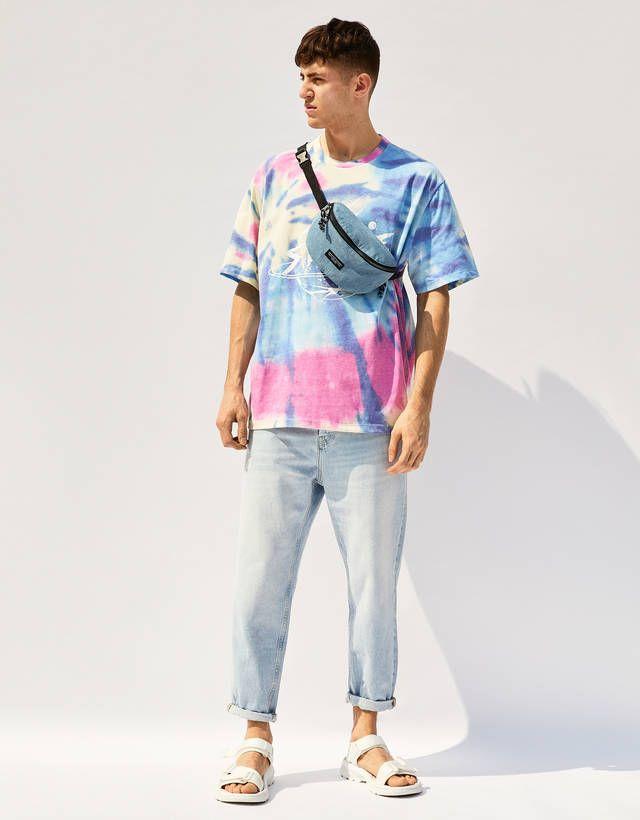 T-shirt tie-dye - Tee-shirts - Bershka Belgium Outfits Hombre, Tie Dye Outfits, Tie Dye Shirts, Dye T Shirt, Stylish Mens Outfits, Cool Outfits, Tie Dye Fashion, Mens Fashion, Short Tie Dye