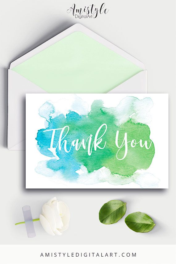 Thank You Card Blue GreenPrintable cardsThank YouWedding