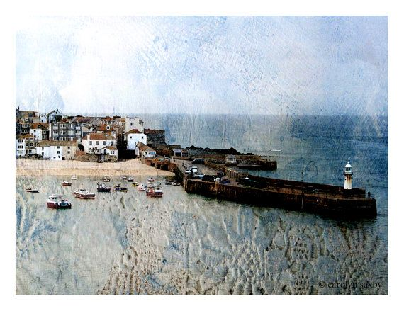 ST. IVES HARBOUR Cornwall with vintage by CAROLYNSAXBYTEXTILES
