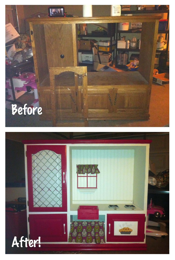 This is the play kitchen I made for Penelope using an old ...