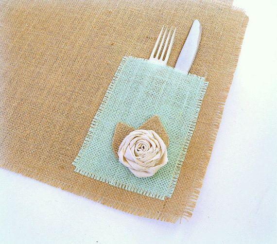 Manteles de arpillera bolsas de arpillera por TheBirchTreeShop