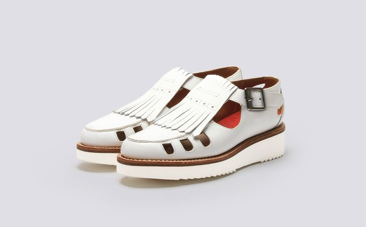 Womens Sandal in White Calf Leather with a White Wedge Sole | Ethel | Grenson Shoes - Three Quarter View