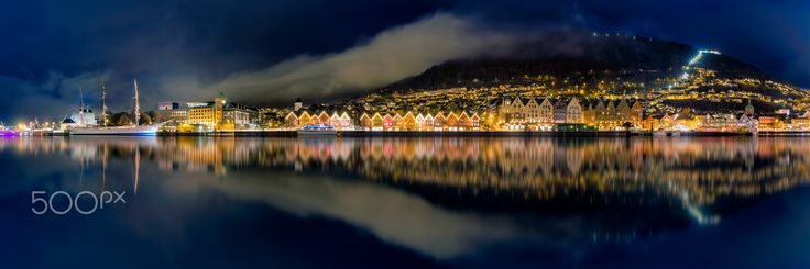 Port of Bergen By Night - The port of Bergen, Norway by night. Reflecting in the calm harbor.