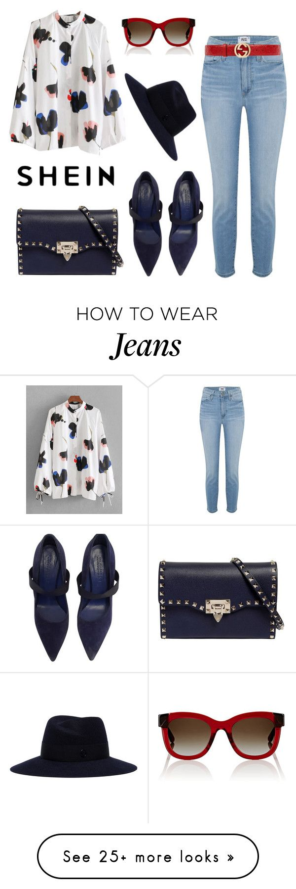 """Shein"" by daisy-schilder on Polyvore featuring Paige Denim, Thierry Lasry, Valentino, Jil Sander, Gucci and Maison Michel"